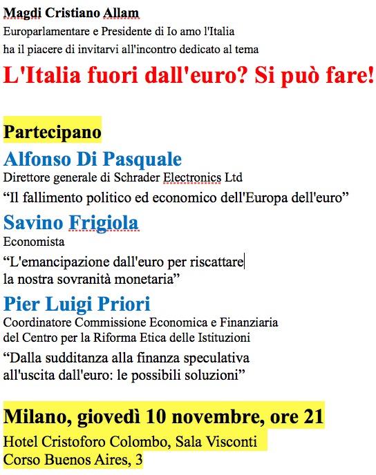 L'Italia fuori dall'euro - Magdi Allam