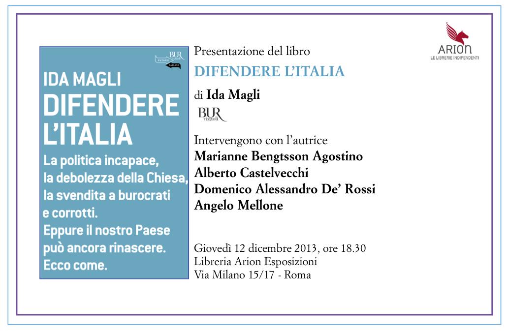 Presentazione a Roma di DIFENDERE L ITALIA di Ida Magli giovedì 12  dicembre ae5e62966af